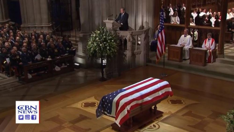 George W. Bush delivering a tearful, heartwarming eulogy for his late father, George H. W. Bush (Photo: CBN News)