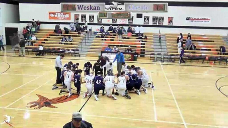 Cheylin and Weskin High School Basketball Players During Pre-Game Prayer (Open Space Sports)
