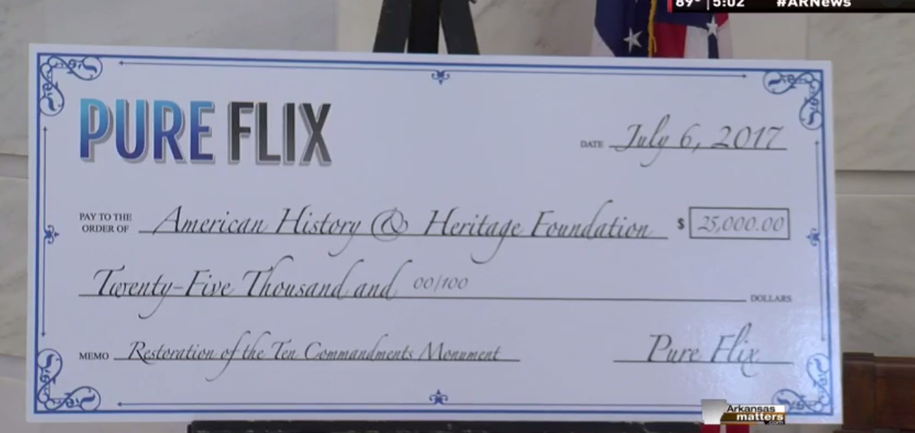 Pure Flix gave a sizeable donation to rebuilding the monument